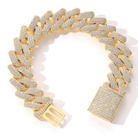 20mm Diamond Miami Prong Cuban Link Chain Bracelets 14k White Gold Iced Out Icy Cubic Zirconia Jewelry 7inch 8inch 9inch Cuban Bracelet