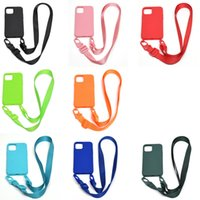 360 Full Cover Imitated Liquid Silicone TPU Cases Crossbody Necklace Lanyard Cord Strap Anti-drop For iPhone 13 12 Mini 11 Pro Max XR XS X 8 7 Plus