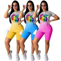 Kadın Giyim Seti Rahat Degrade Dudak Baskı Yaz 2 Adet Suit Kadın Spor Eşofman Kısa Kollu Üst Şort Kıyafet İki Parçalı Elbise