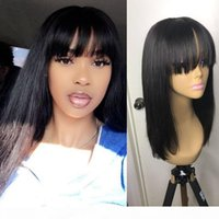 Brazilian Human Hair Lace Front Wig With Bangs Long Straight Real Virgin Hair Pre Plucked Hd Transparent Lace Frontal Wigs For Black Women