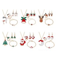 Christmas Gift Series Santa Claus Elk Bell Decorations Earrings Ring Necklace Bracelet Four-piece Set Ornaments T2I52925