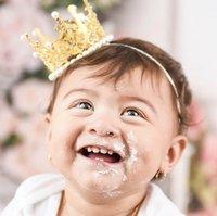 Kızlar Saç Aksesuarları Bantlar Bantları Çocuk Inci Altın Taç Kafası Doğum Günü Partisi Aksesuar B5070