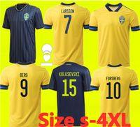 Suécia 2021 2022 Camisas de futebol Ibrahimovic Larsson Kulusson Kallstrom Forsberg fãs Versão do jogador Sverige 20 21 Suecia Camisas de futebol uniforme