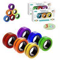 DHL 3PCS Anel de dedo Fidget ímã brinquedos | Dedos mão spinner empilhando conjunto de brinquedo, pulseira magnética magia para alívio de estresse, anti-ansiedade autismo crianças adultos adolescente