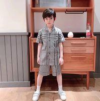 مصمم الاطفال ملابس مجموعات الأطفال شعرية قصيرة الأكمام قميص + منقوشة السراويل 2 قطع الصيف الأولاد إلكتروني مطرزة ملابس A6353