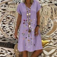 Casual Dresses Ladies Fashion 3 Color Pure Embroidered Short Sleeve V-Neck Dress Woman Summer Holiday Style