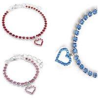 Czech Diamond Dog Cat Collar Heart Pet Necklace Whole Diamond Hotsell Pet Supplier 4 Color 3 Size Mix Order Min Order