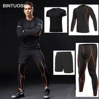 Компрессионный трексуит Bintuoshi 4 шт. Фитнес жесткий ходовой набор футболки набор футболки мужская спортивная одежда спортивный спортивный спортивный спортивный костюм