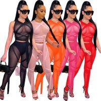 Женщины Сексуальный экран Перспектива Бандаж Сплошной Цвет Без Рукавов Два Части Костюм BodyCon Комбинезоны Rompers Bodysuit