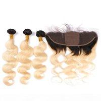 1B 613 금발 옴 브레 인간의 머리카락 번들 실크베이스 레이스 정면 13x4 Ombre 금발 처녀 머리카락 3DLES 실크 탑 프런트