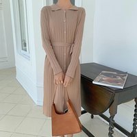 GKFNMT Женщины Сплошные Теплые поясницы Платье с длинным рукавом MIDI MIDI Осень Chic Streetwear Toll Rew Дамы Работа 2020