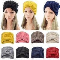Winter Knot Muslim Turban Hat for Women knitted Stretch Hijab Cap Arab wrap Head Scarves Wool Islamic Turban turbante mujer
