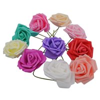 25 головок 8 см Новые красочные искусственные PE пены роза цветы невесты букет домашний свадебный декор Скрапбукинг DIY поставляет 517 R2