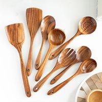 Utensili da cucina di alta qualità Set di utensili da cucina Utensili da cucina in legno Utensili da cucina Stoviglie Spatula Spatula Pala Cucchiaino Cucchiaini Cucchiaini Colapasta