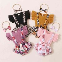 3pcs born Baby Girl Clothes Set Floral Bodysuit Romper Jumpsuit Tops T Shirt Skirts Bow Headband Summer Outfit 210618