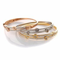 Fashion Round Double Layer Rhinestone Crystal Love Stainless Steel Elegant Trendy Lady Bracelet For Party Dress Gift Bangle
