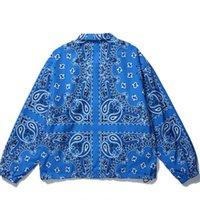 Men's Jackets Hop Hip Cashew Flower Print Jacket 2021 Autumn Single-breasted Turn-down Collar Loose Coat Harajuku Shirt For Women