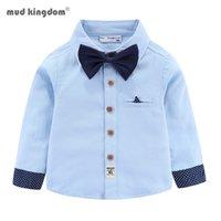 넥타이와 함께 Mudkingdom 소년 셔츠 긴 소매 드레스 공식 어린이 칼라 탑스 버튼 다운 링 베어러 옷 210802