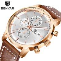 Benyar أعلى الساعات قرض الذهب علامة الكوارتز الرياضية ووتش نبض الرجال الموقت ساعة الذكور