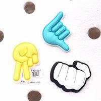 10pcs lot Luxury 3D Gesture Shoe Accessories Fist Gesture Scissor Hand Deaigner Shoes Clog Charms for Croc JIBZ Kids Party Gifts