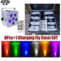 Infrarot-Fernbedienungs-Lichter RGBAW UV-LED-Hochzeits-Uplights Batteriebetriebener DMX Par 6x18W (White Case) (8 Stück +1 Fliegenkoffer / Los)