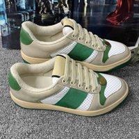 Sneaker del designer di lusso in pelle sporca Italy Vintage Donne scarpe da donna beige burro classico Screener Screener Screener Casual Scarpa