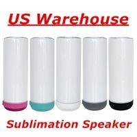 Lokales US-Lagerhaus! Sublimation Sprecher 20 Unzen weiße leere Musik-Tumbler mit weiß grau grün rosa schwarzer Boden aufgeladene Edelstahl-Wasser-Flaschen Becher A12