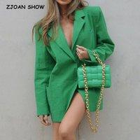 Women's Suits & Blazers 2021 Autumn Free Style Green Center Buttons Thin Linen BF Blazer Boyfriend Vintage Women Mid Long Suit Loose Female