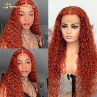 Цветные вьющиеся кружева часть человеческих волос парики волос бразильский имбирный апельсин для черных женщин Предварительно сорванный Remy плотность 180