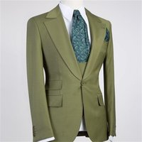 Men's Suits & Blazers Latest Design Green Peal Lapel With One Button Men 3 Pieces Costum Homme Groom Tuxedos Terno Masculino Slim Fit Blazer