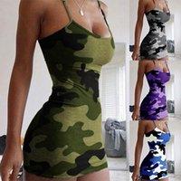 Yaz Seksi Bodycon Elbiseler Kadınlar Için Parti Kulübü Mini Elbise Spagetti Kayışı Kolsuz Kamuflaj Baskı Vestido Casual