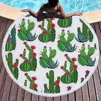 Serviette Cactus Sunflower Plante Tropical Microfibre Ronde Plage Cercle Roudie Couverture Terry Tissu Serviette de Plage