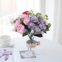 Yeni Marka Çiçekler Kırmızı Ipek Şakayık Güller Ev Dekor Için Vazolar Gelin Buket Düğün Aksesuarları Zanaat DIY Hediyeler Pembe Sahte Bitkiler EWD6284