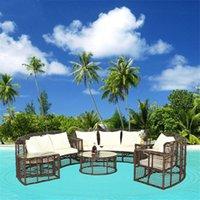 Das klassische Rattan-Wohnzimmer-Sofa-Set kombiniert Gärtenmöbel und einen Open-Air-Gartenstuhl-Kissen-Sitz Couchtisch