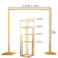 Party Decoration 5pcs lot Wedding Props Square Metal Arch Shiny Gold Plated Backdrop Stand Stage Rectangular Flower