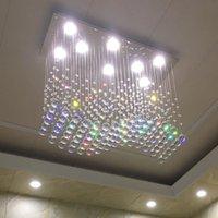 LED modern Pendant Lamps K9 crystal chandelier lighting luster hanging lights rectangular restaurant home decoration