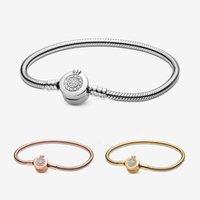 Pandora Silber 925 Momente Kette Armband Funkeln Krone Buchstabe O Schlangenknochen mit Box Geschenk Modeschmuck