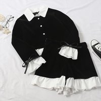 Korean Fashion Ruffled Shirt Womenpant Mini Shorts Sets 2pc Girl Retro Black White Blouse Amp High Waist Pants Suits Two