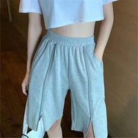 Calças femininas capris nomikuma 2021 verão meia calça zipper largo perna mulheres esticar alta cintura Calças causais coreanas 6g777