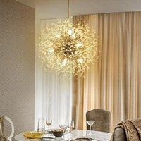 Firework LED Light Stainless Steel Crystal Chandelier Lighting Ceiling Golden Dandelion Pendant Lamps