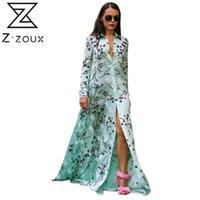 Z-Z-Zoux Frauen Kleid langes Blumenhemd Maxi Boho Sommer Blume Druckhülse Plus Größe Vintage XXL 210806