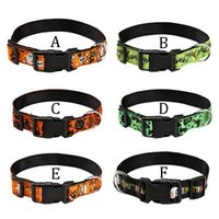 Pet Dog Collar Halloween Pumpkin Bat Pattern Dogs Festival Neck Ornament Seatbelt Buckle Strap With Leash Ring N06 Collars & Leashes