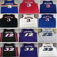 레트로 농구 유니폼 12 John Stockton 32 Karl Malone Allen 3 Iverson Stitched Jersey Size S-2XL