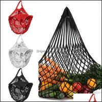 Reusable Kitchen Housekee Organization & Gardenreusable Grocery 14 Color Large Size Shopper Tote Mesh Net Woven Cotton Portable Shop Bags Ho
