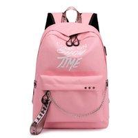 Backpack School Bag Viaggio impermeabile Laptop Luminoso Luminoso Testi Caricabatterie USB