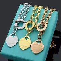 Designer Liebe Big Heart Armband Halskette Luxus S925 Silber Gold T Schmuck Set Platin Dame Weihnachtsgeschenk Blau Marke Verpackung