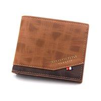 Wallets 2021 Men's Casual Business Wallet Fashion Small Purses Short Money Bag Solid Color Leather Handbag Vintage Male Walltes