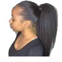 Kinky Droite Malaysia Human Cuisson Cordon de cordon de cheval Ponynette Clip dans les extensions de cheveux Couleur Naturelle Remy 2 clips Ponye Afro Poneytail Yaki cheveux raides