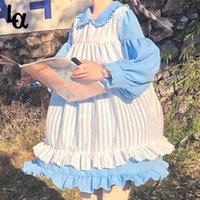 Şans Bir Tatlı Sevimli Kawaii Kızlar Lolita Elbise Prenses Hizmetçi Vintage Ruffles Elbise Puf Kollu Siyah Pembe Kadın Elbise Yuvarlak Yaka 210427