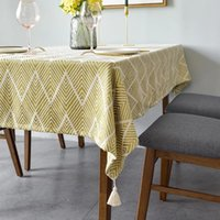 Table Cloth Runner Jacquard Weave Pattern Rectangular Tablecloth With Tassels Thick Cover For Home Decor Dining Room